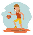 cartoon girl playing basketball sport design vector image