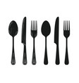 tableware such as spoon knife fork silhouette vector image