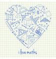 i love math doodles in heart vector image