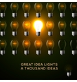 Idea concept row of light bulbs vector image vector image