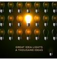 Idea concept row of light bulbs vector image