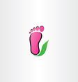 healthy foot logo footprint leaf icon vector image