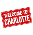 Charlotte red square grunge welcome to stamp vector image