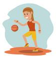 cartoon girl playing basketball sport design vector image