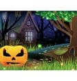 Jack O Lantern and abandoned house vector image