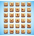Large set of wooden square buttons for the user vector image