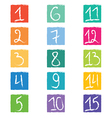 Set of fifteen colorful number tags in squares wit vector image
