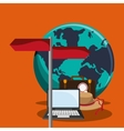 earth globe and travel related icons vector image vector image