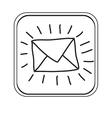 silhouette square button envelope icon vector image