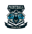logo emblem a person playing paintball holds two vector image