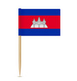 flag of cambodia flag toothpick on white vector image