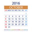 2016 calendar simple design date template month vector image