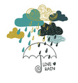 Of Rain Clouds And Umbrella vector image