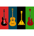 Four isolated flyers with guitars vector image