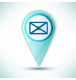 glossy web icon email design element on a blue vector image