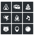 Set of Camping Icons Camp Trailer Forest vector image