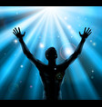 spiritual man with arms raised up concept vector image