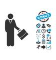 Standing Businessman Flat Icon with Bonus vector image