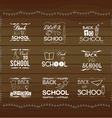 Vintage back to school card Wooden background vector image