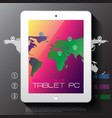 white tablet pc with map vector image