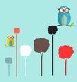 Owls on Trees Simple Flat Design Retro Cartoon vector image