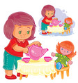 small girl plays with a doll treats her with tea vector image