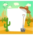 Blank board in Mexican desert with cactus vector image
