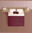 Bedroom Interior Top View Realistic Image vector image vector image