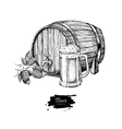 Beer barrel with hop and glass mug Sketch style vector image