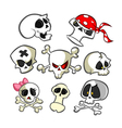 Collection of cartoon skulls icons vector image