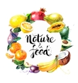 Eco food menu background Watercolor hand drawn vector image
