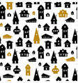 Houses Seamless pattern Old town backgrou vector image
