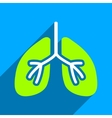Lungs Flat Square Icon with Long Shadow vector image