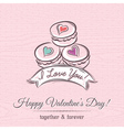 valentine card with macaroni and wishes text vector image