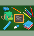 welcome back to school with school supplies set vector image