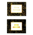 Floral business card black and golden vector image vector image