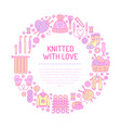 knitting crochet hand made banner vector image