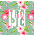 Tropical Leaves and Flowers Background Graphic vector image vector image