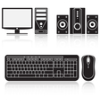 Icons of computer audio system keyboard and mouse vector image
