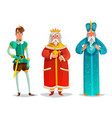 royal characters cartoon set vector image