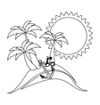 silhouette background summer with anchor and drink vector image