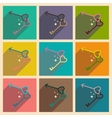 Set of flat web icons with long shadow keys heart vector image