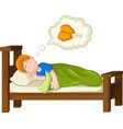 boy cartoon sleeping and dream fried chicken vector image