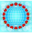 Cartoon red hearts circle around globe vector image vector image