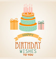 birthday poster with cake and ribbon template vector image