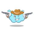 cowboy cute cloud character cartoon vector image
