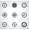 black compass icon set vector image