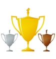 Cups of winners golden silver and bronzed trophy vector image