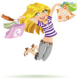 Girl shopaholic with shopping bags on white vector image