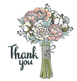 Hand drawn garden floral Thank you card Hand drawn vector image